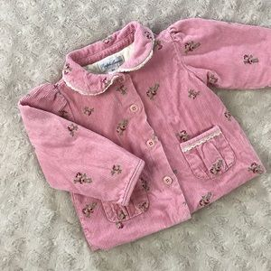 Ralph Lauren Jacket Pink Corduroy Floral 3 Months